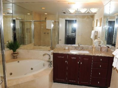Master bathroom with tub & shower