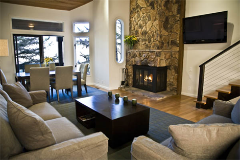 luxury living room with fireplace-vail mountain view
