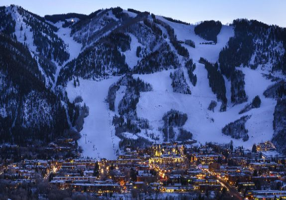 Aspen town at night