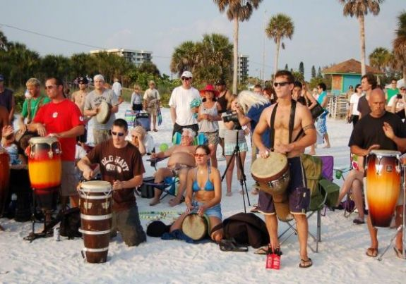 Drumming at sun set on siesta key beach